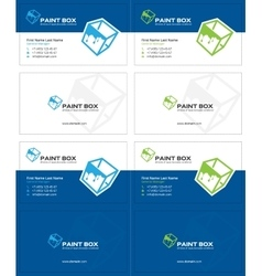 Paint box business card 2 vector