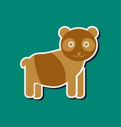 Paper sticker on stylish background panda bear vector