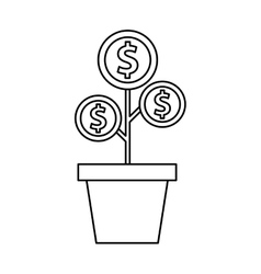 plant with coins funding icon vector image