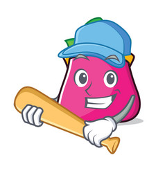 Playing baseball purse character cartoon style vector