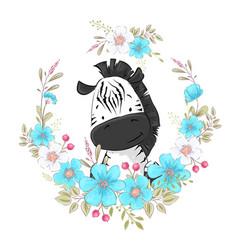 Postcard poster cute little zebra in a wreath vector