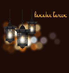 ramadan kareem greeting card lanterns in vector image vector image