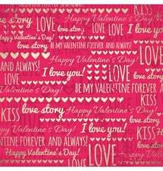 red background with golden valentine hearts vector image