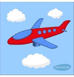 Red cartoon aircraft in clouds on blue background vector