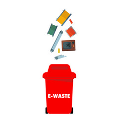 Red e-waste bin white background image vector