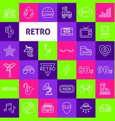 retro line icons vector image
