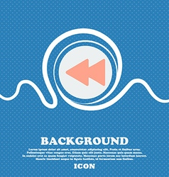 Rewind sign icon Blue and white abstract vector