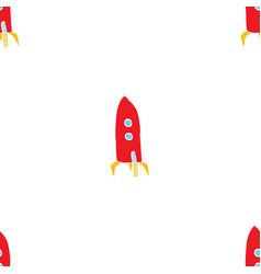 Rocket seamless pattern cute doodles space ships vector
