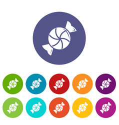 round candy icons set color vector image