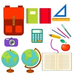 School supplies clip art objects vector image