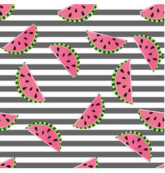 seamless background watermelon slices on black vector image