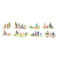 Set eight different family activities in spring vector