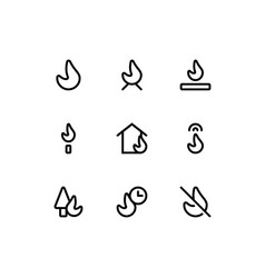 Set fire flammable outline style icon vector