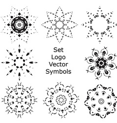 Set Hand drawing zentangle mandala logo symbols vector