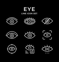 Set line icons of eye vector