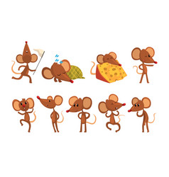set of cartoon mouse character in different vector image