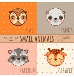 Set of face animals cartoon heads vector