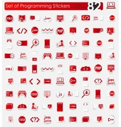 Set of programming stickers vector