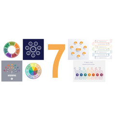 Seven templates for modern infographic 7 positions vector