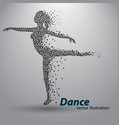 Silhouette of a dancing girl from triangles vector