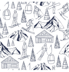 ski resort hand drawn snowboarders and skiers vector image