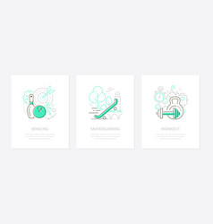 sport and active lifestyle - line design style vector image