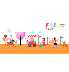 Summer fun fair amusement park characters people vector
