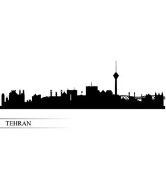 Tehran city skyline silhouette background vector