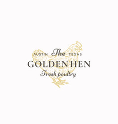 the golden hen poultry abstract sign vector image