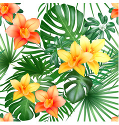 tropical seamless pattern with palm leaves and vector image