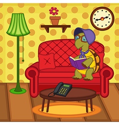 Turtle reading book on couch vector