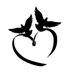 two doves and a heart vector image