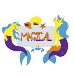unicorn mermaid seashells vector image