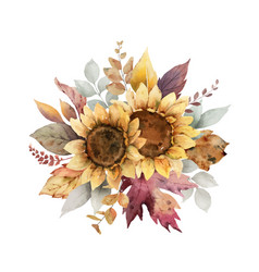 Watercolor autumn bouquet with sunflower vector