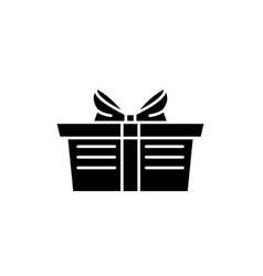 wrapped gift basket black icon sign on vector image