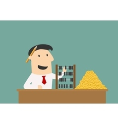 Businessman counting money with abacus vector image