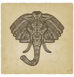 Elephant hand drawn pattern old background vector image vector image