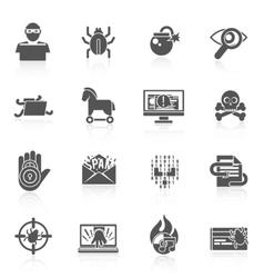 Hacker icons black set vector image vector image