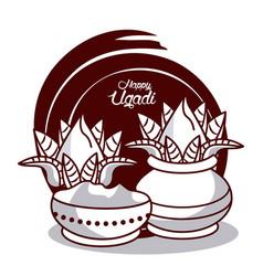 happy ugadi design vector image