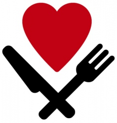 heart fork and knife vector image vector image