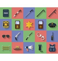 Icon set of police regimentals uniform weapons vector image vector image