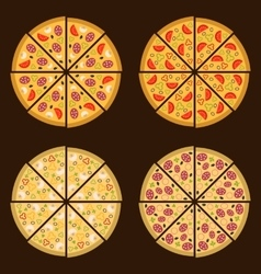 Pizza on the board and the ingredients for the vector image