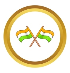 Two crossed flags of India icon vector image