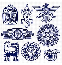 ballpoint pen american aztec mayan culture native vector image