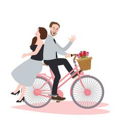 couple riding bike bicycle romance beautiful vector image vector image