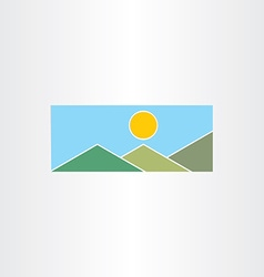 mountains and sun flat icon vector image vector image
