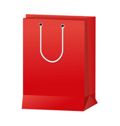red paper shopping bag handle package icon vector image