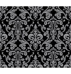 Seamless elegant damask pattern Grey and black vector image vector image
