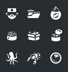 Set of japan fishing icons vector