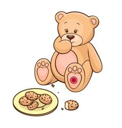 teddy bear eating cookies vector image vector image